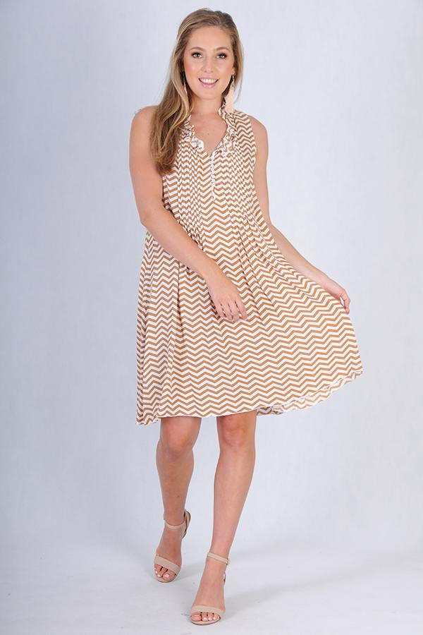 VBLD966 - LOMBOK DRESS - ZIG ZAG CINNAMON