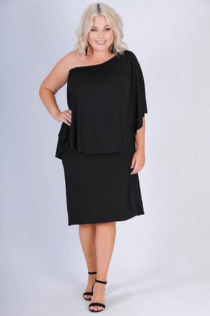VBLD125 - SHORT OVERLAP BAMBOO DRESS - BLACK