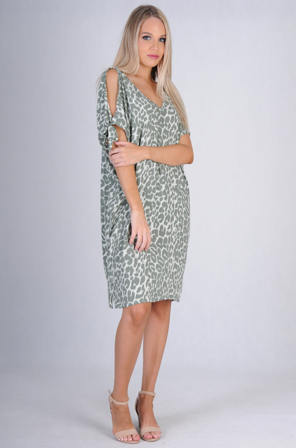 VBLD068 - TIE SHOULDER DRESS - JUNGLE LEOPARD KHAKI