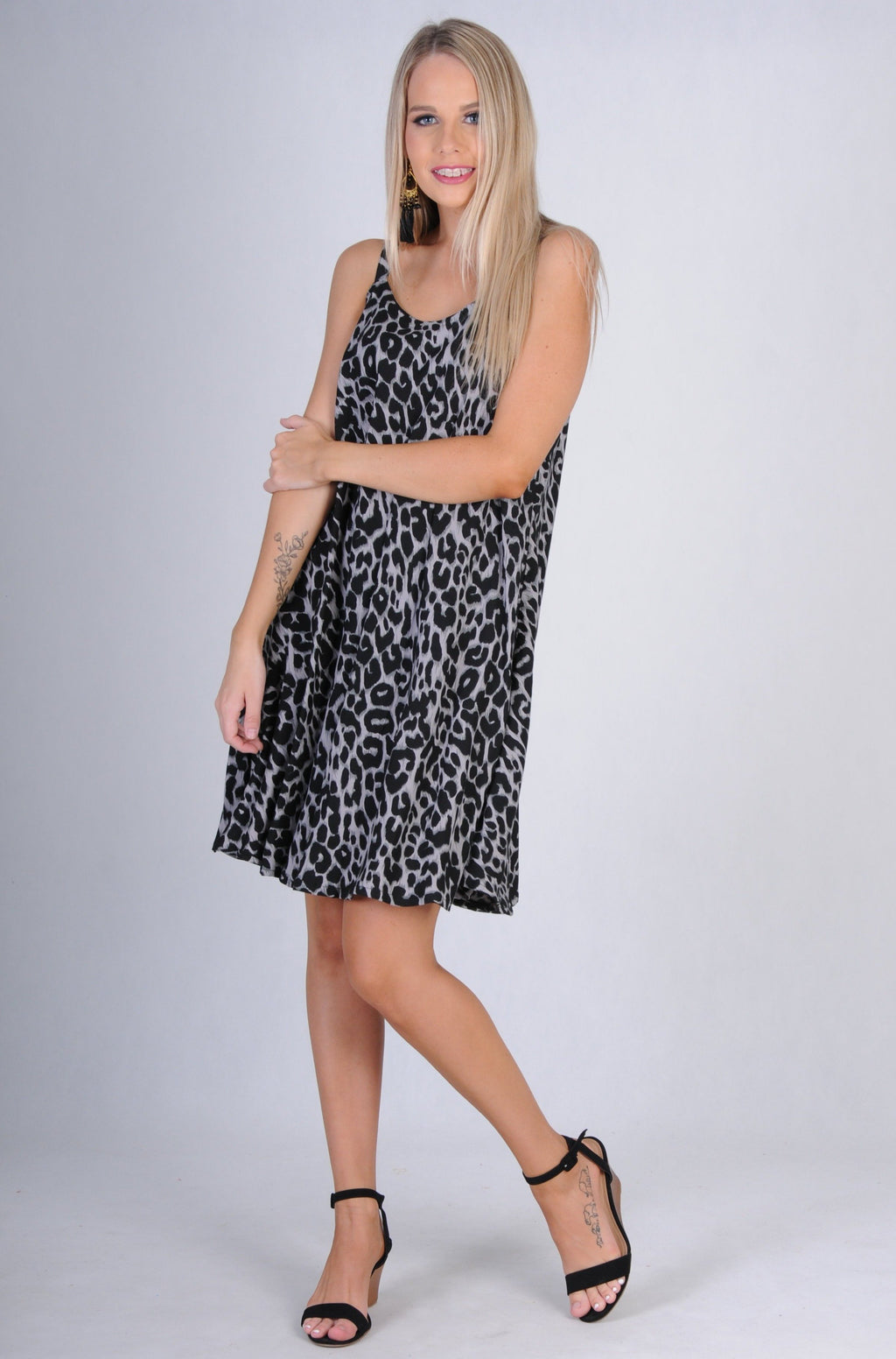 VGLD086 - MARGOT WIDE STRAP DRESS - JUNGLE LEOPARD BLACK
