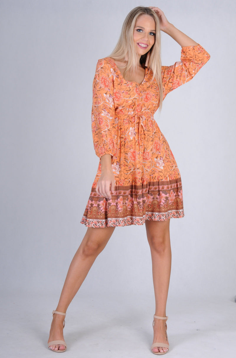 VJHD231 - WALNUT DRESS - TROPICAL SUNSET