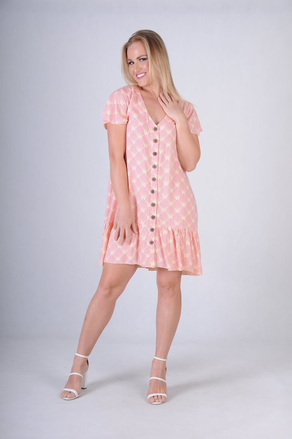 VGLD219 - CAP SLEEVE BUTTON DRESS - FAN PINK