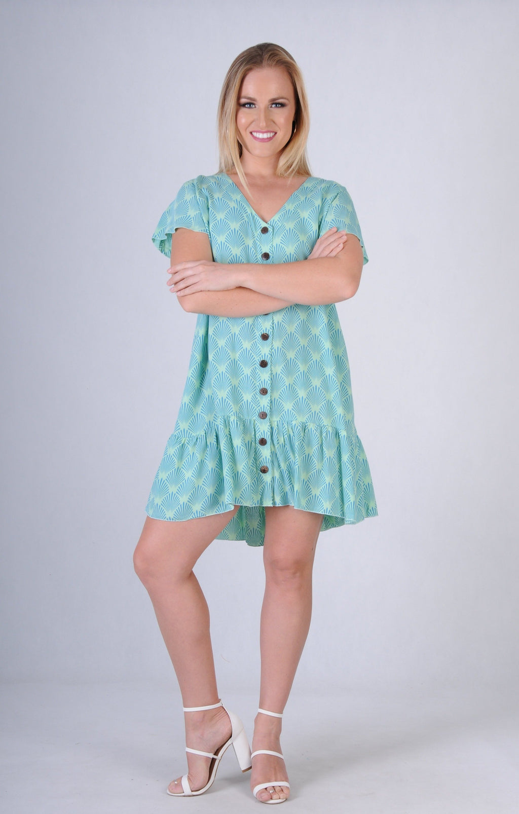 VGLD219 - CAP SLEEVE BUTTON DRESS - FAN BLUE
