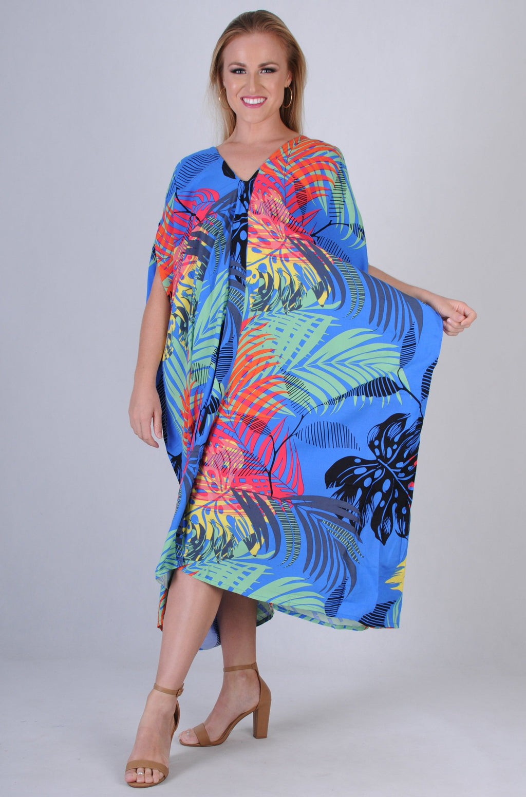 VBLD348 - CUSHLA DRESS - ISLAND PALM COBALT