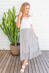 VGLK050 - ROUCHED SKIRT WITH BUTTON DETAIL - WHITE/GREY LEAF