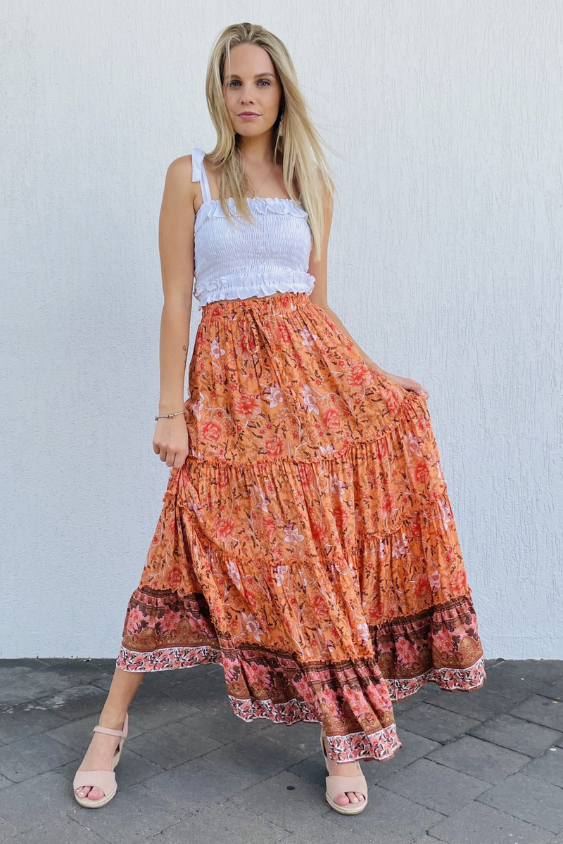 VJHK052 - BOHO LOVER MAXI SKIRT - TROPICAL SUNSET