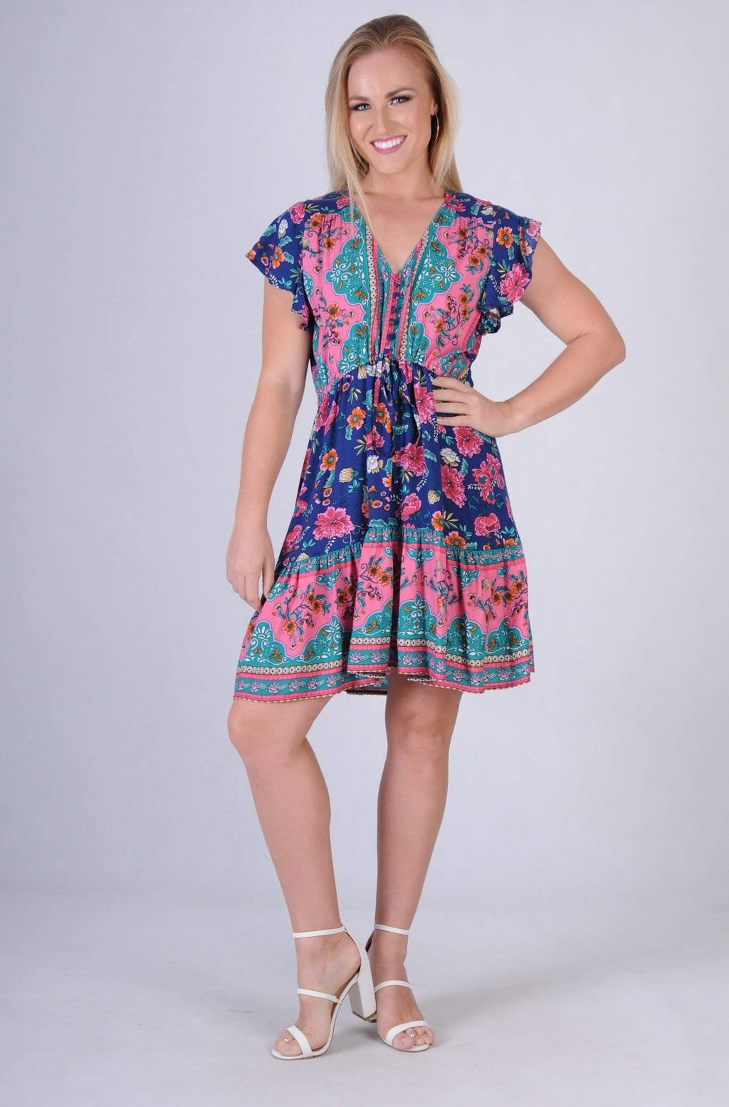 VJHD232 - TWIGGY DRESS - AMALFI NAVY BLOOM