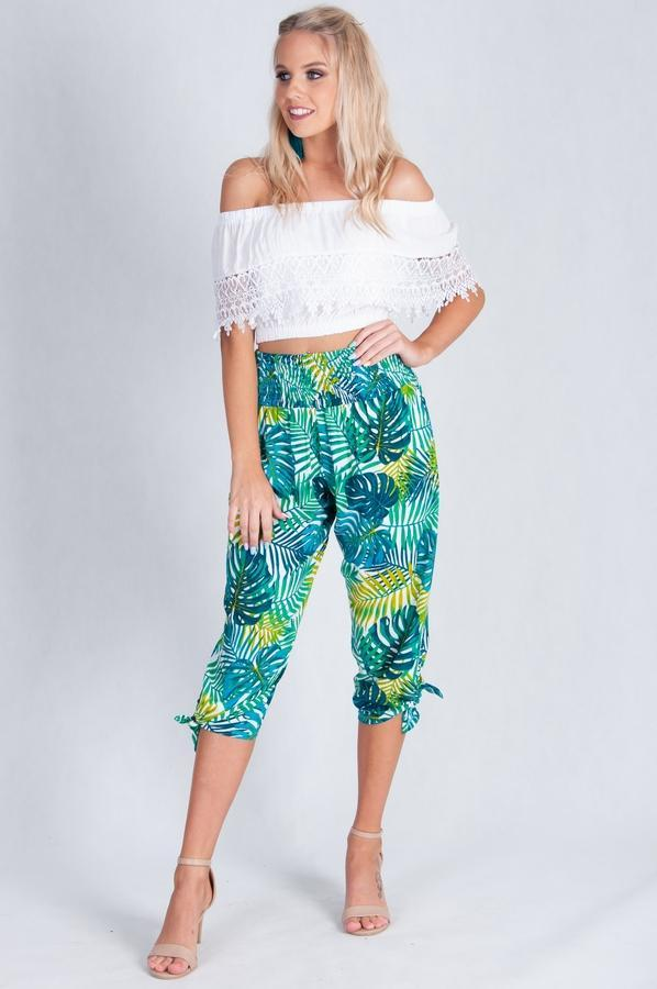 VLP051 - 3/4 ROUCHED TIE PANTS - WHITE/GREEN LEAF