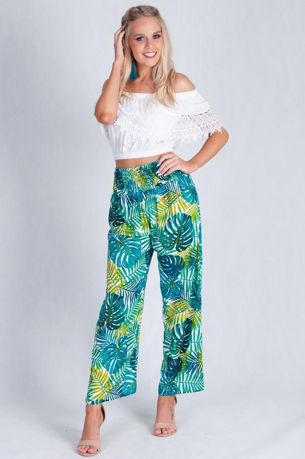 VLP067I - LONG ROUCHED PANTS - BRIGHT LEAF