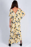 VBLD145 - COLD SHOULDER DRESS - MUSTARD PINEAPPLE