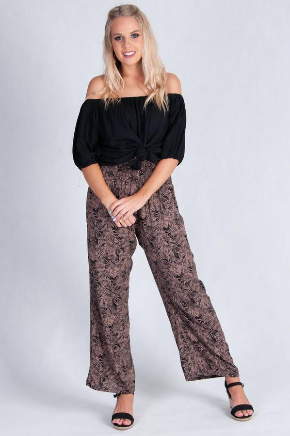 VLP067I -  LONG ROUCHED PANTS - DARK LEAF