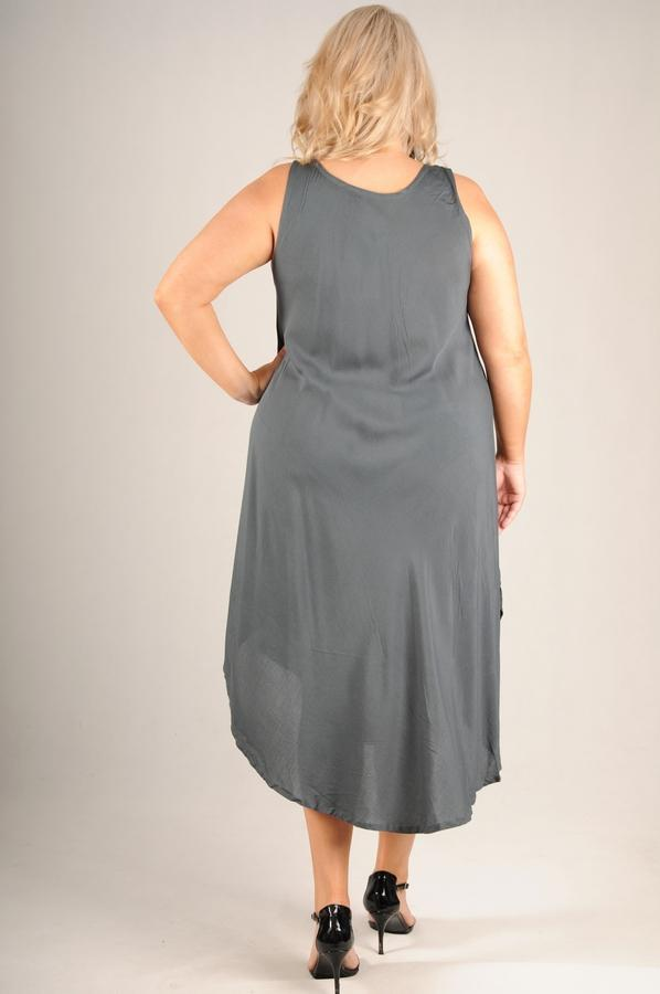 VBLD092 - WIDE STRAP DRESS WITH DETAIL FRONT- PETROL GREY