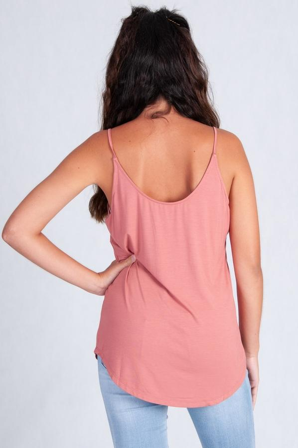 VGLT114 - BAMBOO REVERSIBLE NECK TOP - DUSTY ROSE