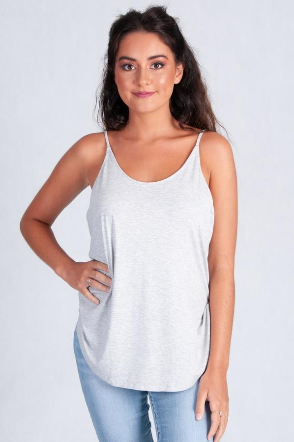 VGLT114 - BAMBOO REVERSIBLE NECK TOP - LIGHT GREY MARLE