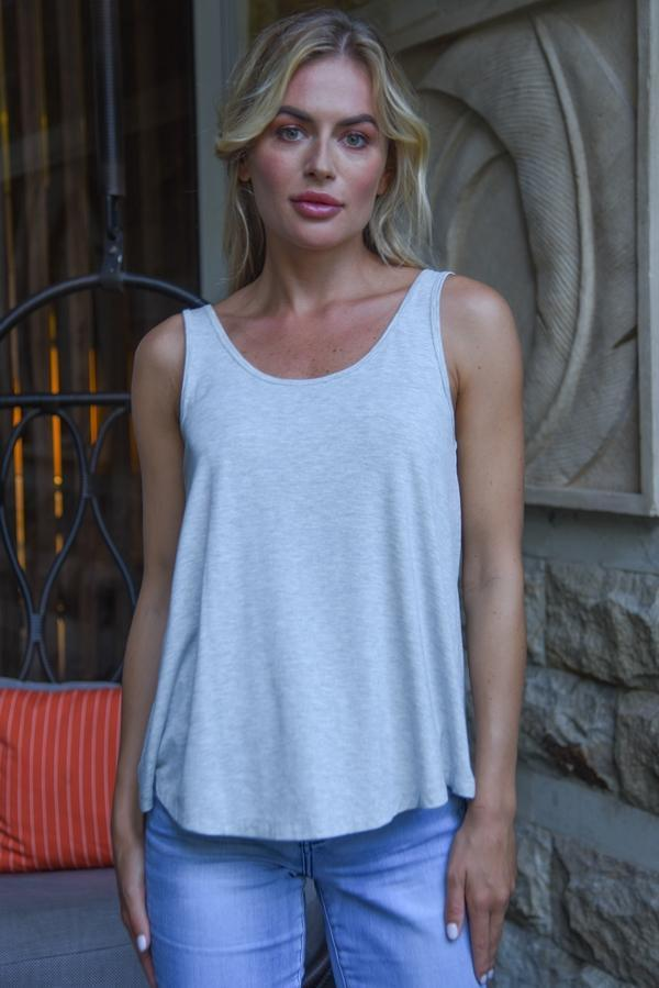 VGLT116 - BAMBOO BASIC LOOSE FIT TANK - GREY MARLE