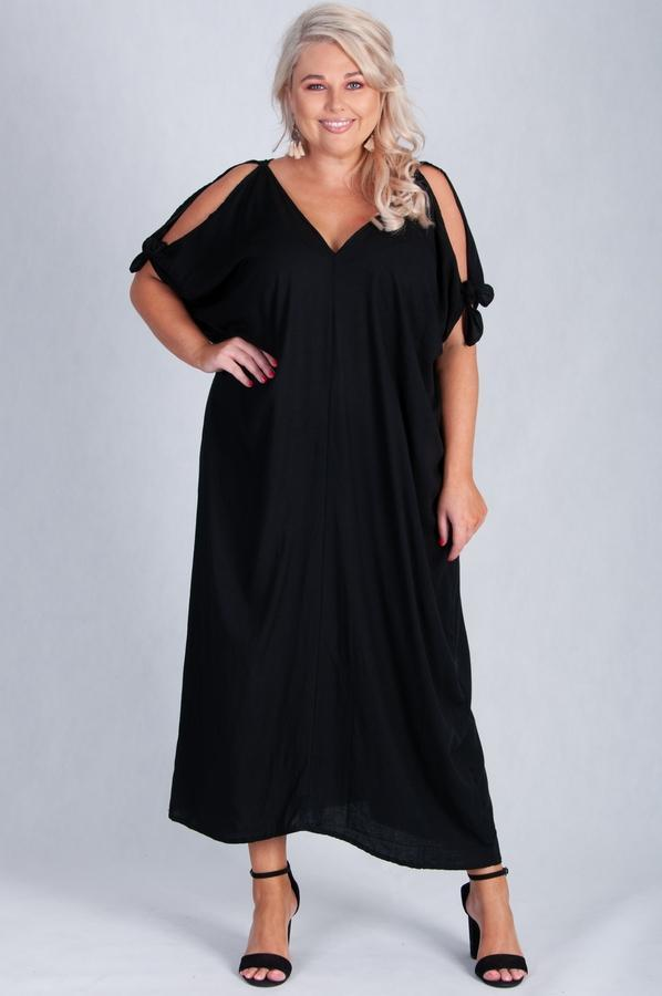 VBLD145 - COLD SHOULDER DRESS - BLACK
