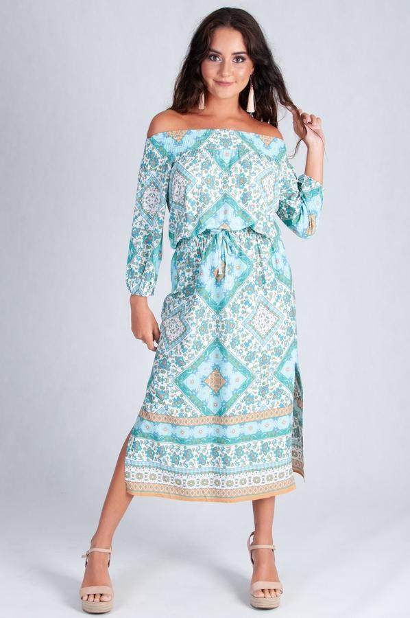 VJHD229 - SPARROW DRESS - TURQUOISE/TAN