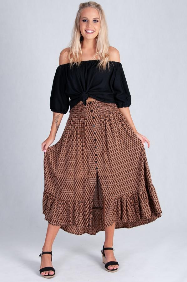 VGLK050 - ROUCHED SKIRT WITH BUTTON DETAIL - MOCHA LEAF