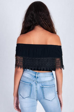 VGLT055 - CHICA LACE SHORT STRAPLESS TOP - BLACK