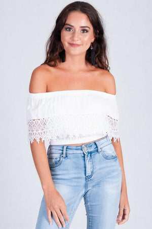 VGLT055 - CHICA LACE SHORT STRAPLESS TOP - WHITE