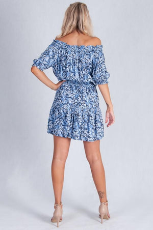 VGLD221 - TIERED ROUCHED DRESS - BLUE