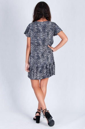 GREY ANIMAL PRINT CAP SLEEVE BUTTON DRESS - VGLD219