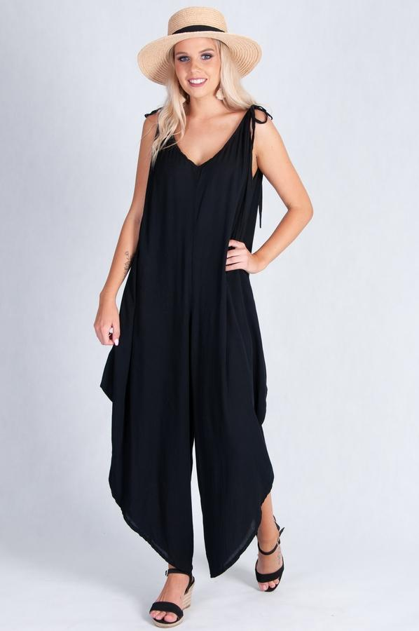 VBLJ014 - LONG TIE JUMPSUIT WITH POCKETS - BLACK