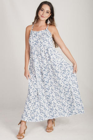 VGLD226 - T BACK TIERED MAXI DRESS - BLUE FLOWER