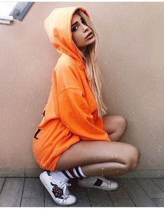 "Hoodie ""Love pizza social club Orange Fluo"""