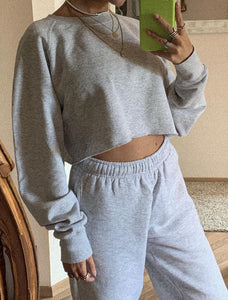 Felpa Cozy cropped Grey