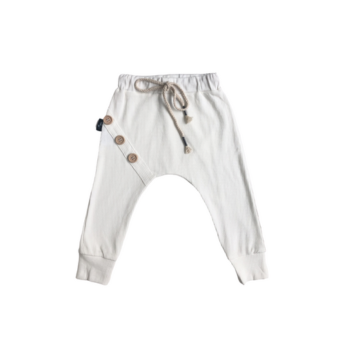 Ribbed Cotton Harem Pants - Milk - Bolts & Blooms