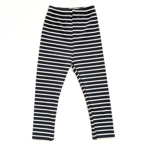 Striped Ribbed Leggings - Black - Bolts & Blooms