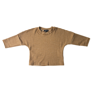 Oversized Striped Drop Shoulder Long Sleeve Tee - Caramel - Bolts & Blooms