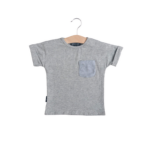 Short Sleeve Patch Pocket Shirt - Heather Gray - Bolts & Blooms