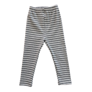 Striped Ribbed Leggings - Heather Gray - Bolts & Blooms