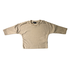 Oversized Striped Drop Shoulder Long Sleeve Tee - Cream - Bolts & Blooms
