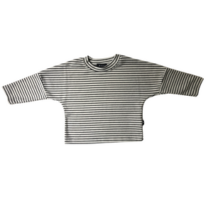 Oversized Striped Drop Shoulder Long Sleeve Tee - White/Black - Bolts & Blooms