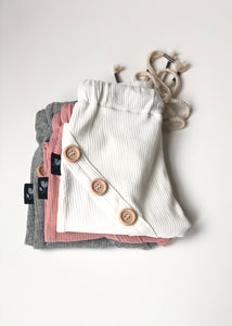 Ribbed Cotton Harem Pants - Pastel Pink - Bolts & Blooms