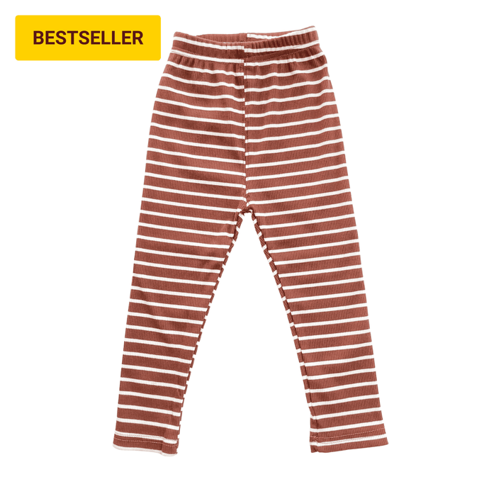 Striped Ribbed Leggings - Cinnamon - Bolts & Blooms