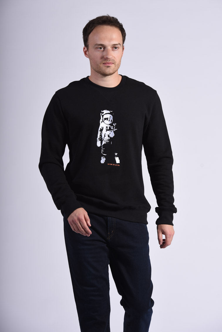 White Apollo 11 Embroidery Black Cotton Men's Sweatshirt Space