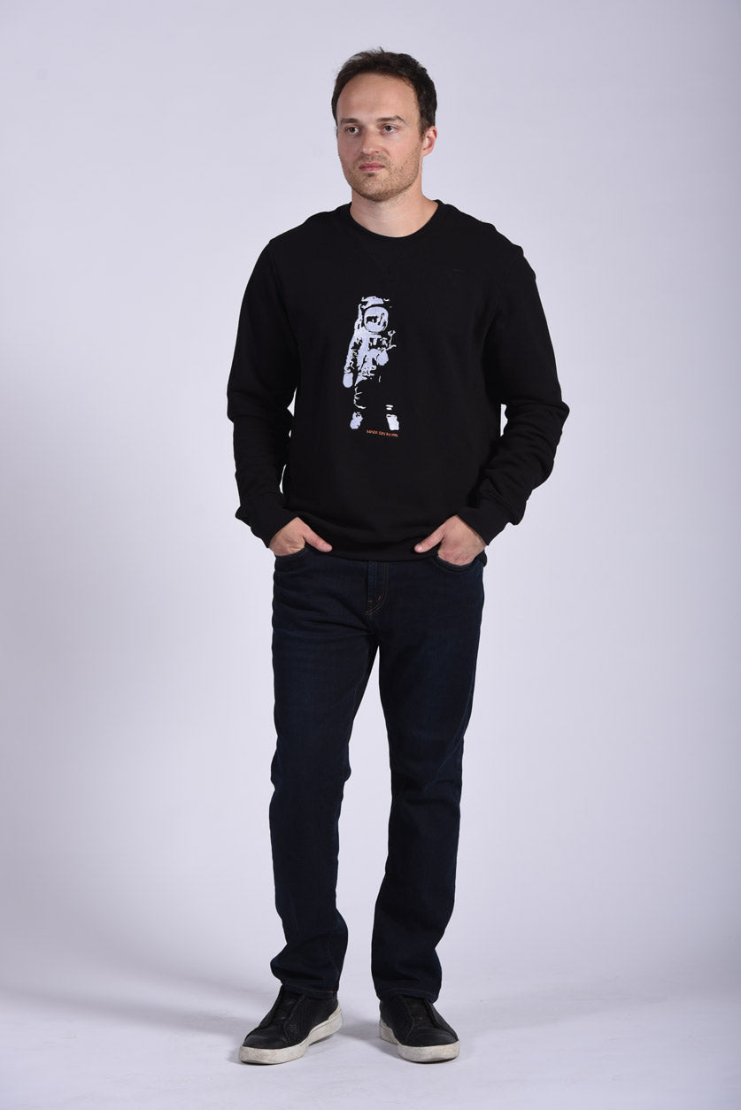 White Apollo 11 Embroidery Black Cotton Men's Sweatshirt Sustainable
