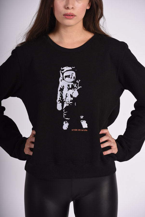 White Apollo 11 Embroidery Black Cotton Women's Sweatshirt Sustainable