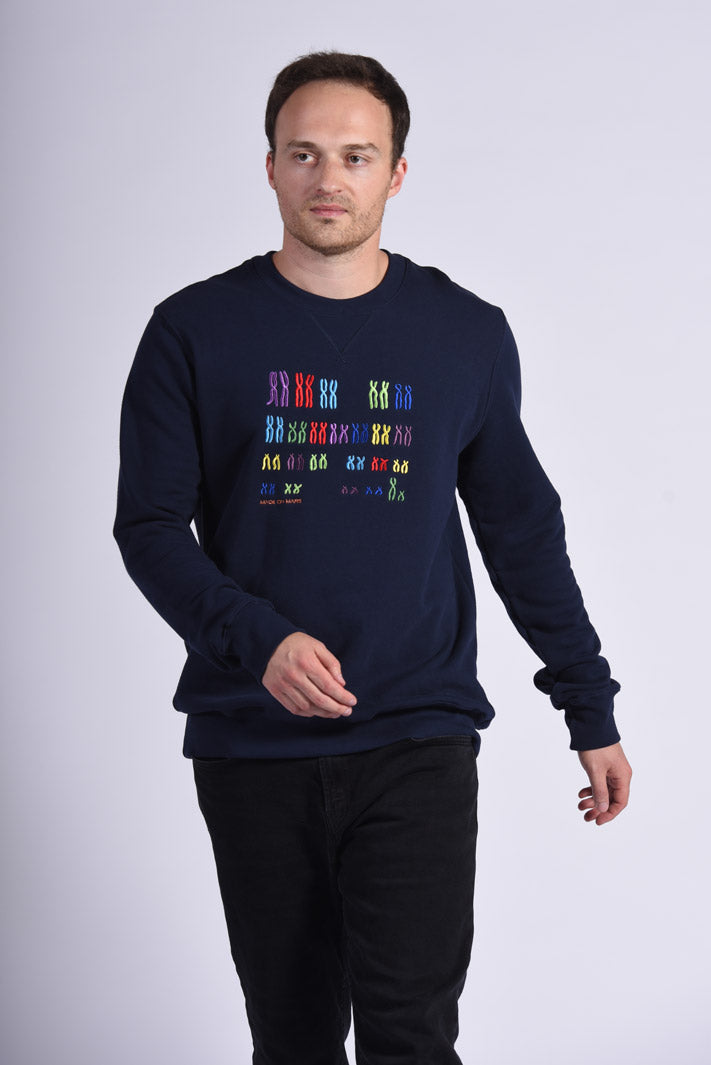 Colorful Chromo Embroidery Blue Cotton Men's Sweatshirt Genetic