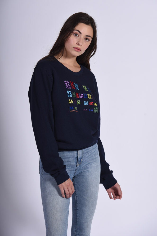 Colorful Chromo Embroidery Blue Cotton Women's Sweatshirt Genetic
