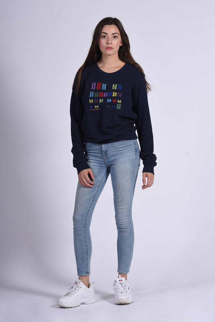 Colorful Chromo Embroidery Blue Cotton Women's Sweatshirt Genomics
