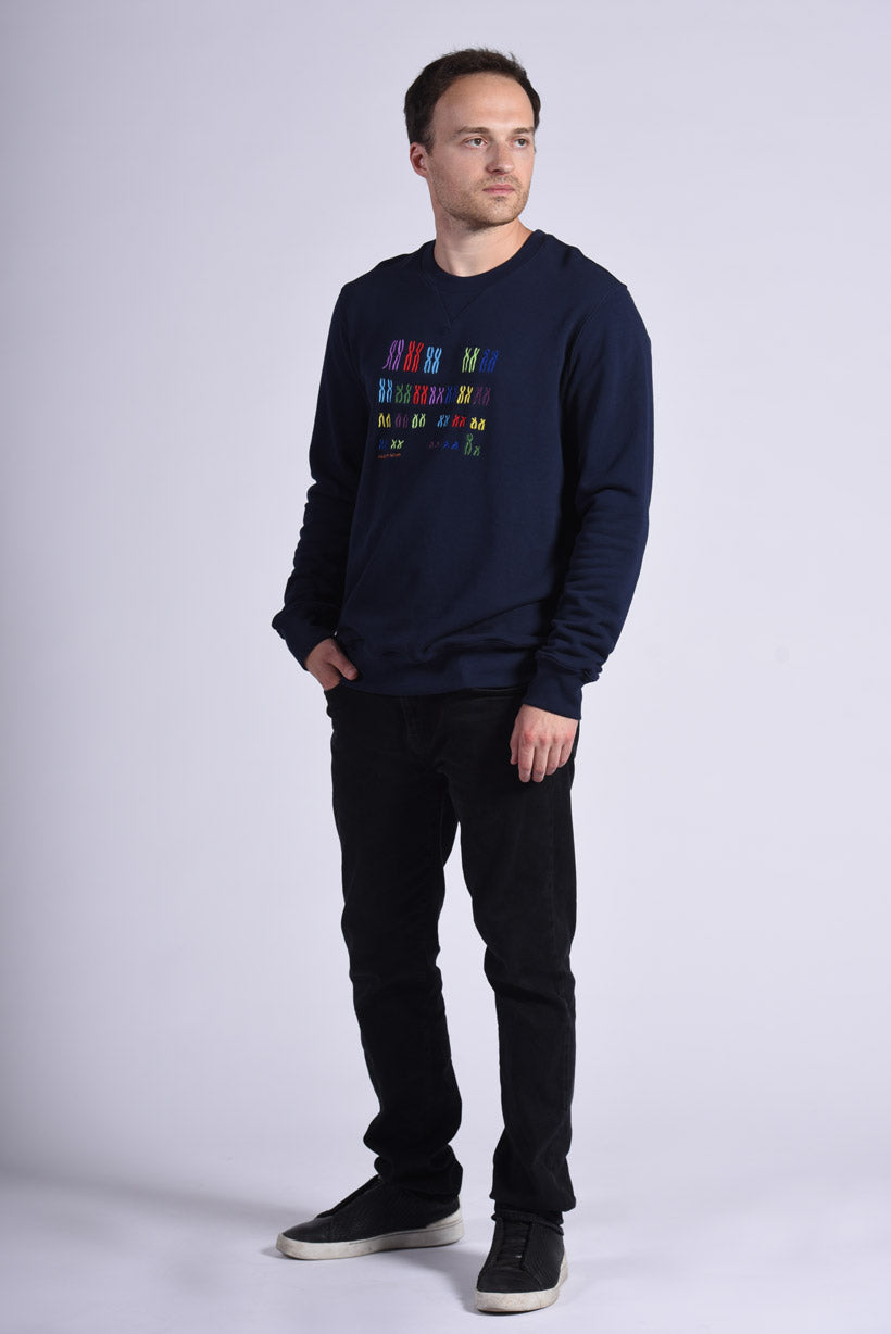 Colorful Chromo Embroidery Blue Cotton Men's Sweatshirt Genomics