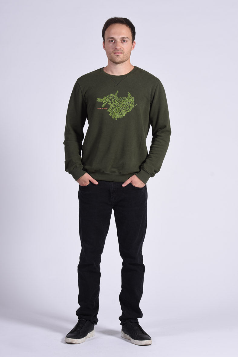 Circuit Board Embroidery Green Cotton Men's Sweatshirt Engineer