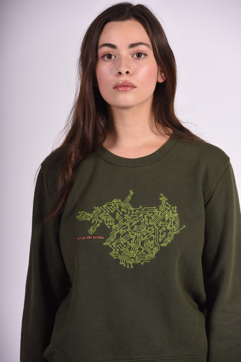Circuit Board Embroidery Green Cotton Women's Sweatshirt Engineer