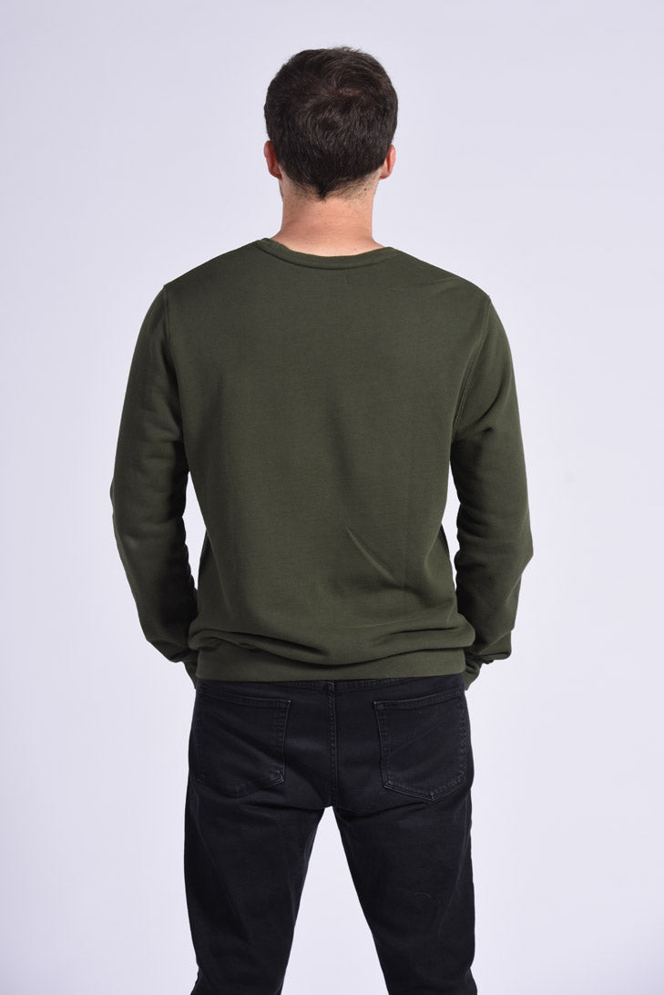 Circuit Board Embroidery Green Cotton Men's Sweatshirt Sustainable