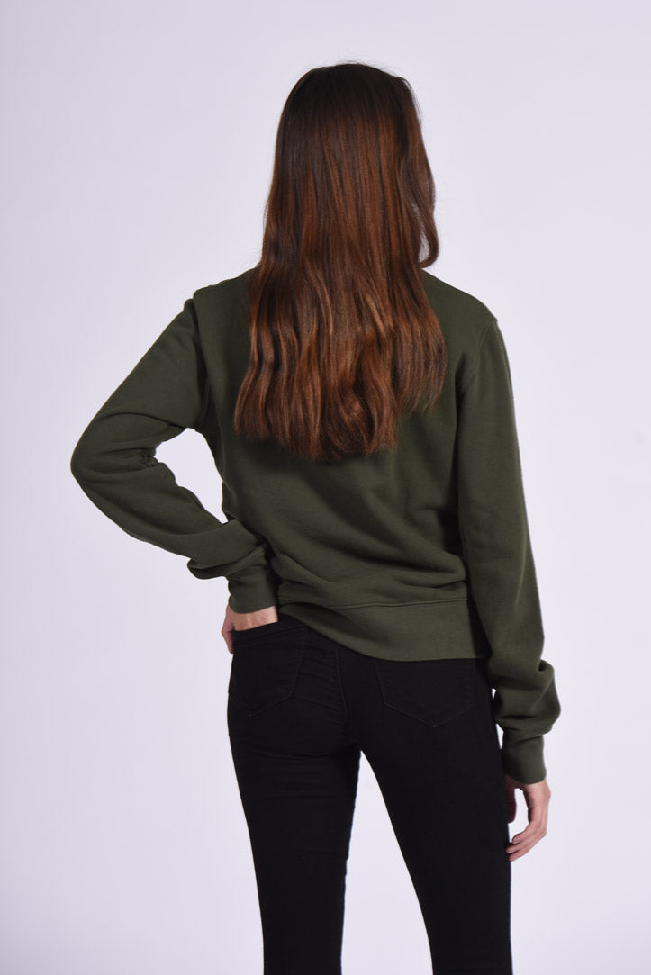 Circuit Board Embroidery Green Cotton Women's Sweatshirt Sustainable